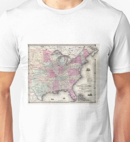Vintage Map of The Eastern United States (1862) Unisex T-Shirt