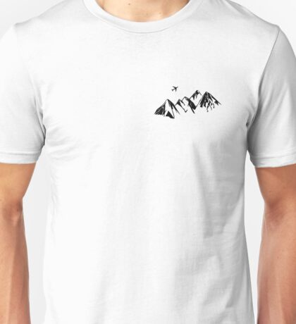 Badlands Mountains With Plane Unisex T-Shirt
