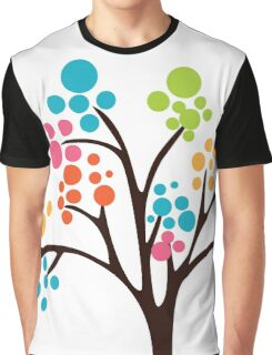 Cute Colourful Tree Graphic T-Shirt