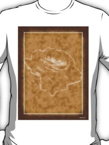 Pink Roses in Anzures 3 Outlined Brown T-Shirt