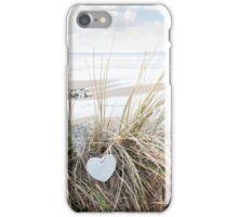 lone blue wooden heart on beach dunes iPhone Case/Skin