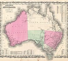 Vintage Map of Australia (1862) by BravuraMedia
