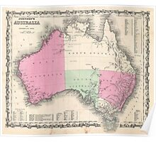 Vintage Map of Australia (1862) Poster