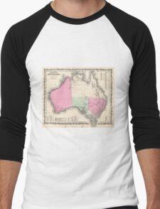 Vintage Map of Australia (1862) Men's Baseball ¾ T-Shirt