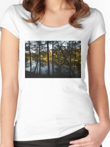 Trough the Pine Screen - Hidden Lake in an Autumn Forest Women's Fitted Scoop T-Shirt