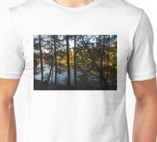 Trough the Pine Screen - Hidden Lake in an Autumn Forest Unisex T-Shirt