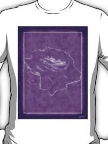 Pink Roses in Anzures 3 Outlined Purple T-Shirt