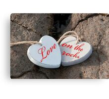 love on the rocks wooden hearts Canvas Print