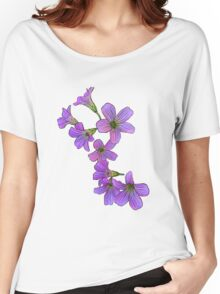 Purple Flowers on White Women's Relaxed Fit T-Shirt