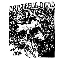 grateful dead Skull Rose ink Drawing Photographic Print