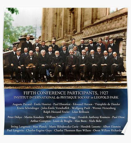 1927 Solvay Conference (LISA wave bg), posters, prints Poster