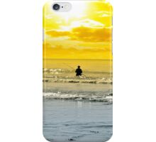 man fishing among the waves iPhone Case/Skin