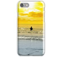 man fishing among the waves iPhone Case/Skin