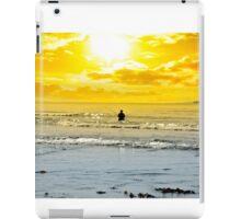 man fishing among the waves iPad Case/Skin
