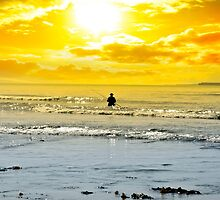man fishing among the waves by morrbyte