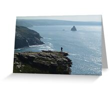 MAN ON THE EDGE TINTAGEL CASTLE NORTH CORNWALL Greeting Card