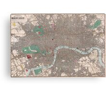 Vintage Map of London England (1862) Canvas Print