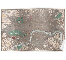 Vintage Map of London England (1862) Poster