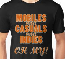 Mobiles and Casuals and Indie - Oh My! Orange Text Unisex T-Shirt
