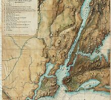 Vintage Map of New York City Harbor (1864)  by BravuraMedia