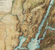 Vintage Map of New York City Harbor (1864)  Sticker