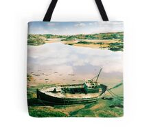 old abandoned beached fishing boat on Donegal beach Tote Bag