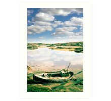 old abandoned beached fishing boat on Donegal beach Art Print