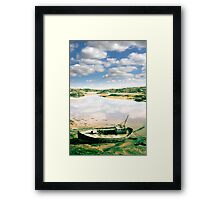 old abandoned beached fishing boat on Donegal beach Framed Print