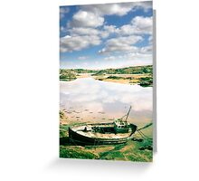 old abandoned beached fishing boat on Donegal beach Greeting Card