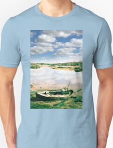 old abandoned beached fishing boat on Donegal beach T-Shirt
