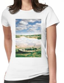 old abandoned beached fishing boat on Donegal beach Womens Fitted T-Shirt