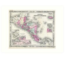 Vintage Map of Central America (1864) Art Print