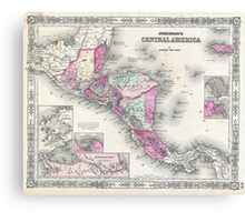 Vintage Map of Central America (1864) Canvas Print