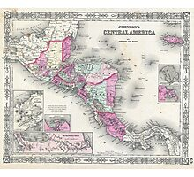 Vintage Map of Central America (1864) Photographic Print