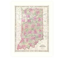Vintage Map of Indiana (1864) Art Print
