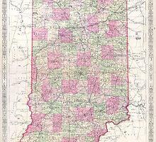Vintage Map of Indiana (1864) by BravuraMedia