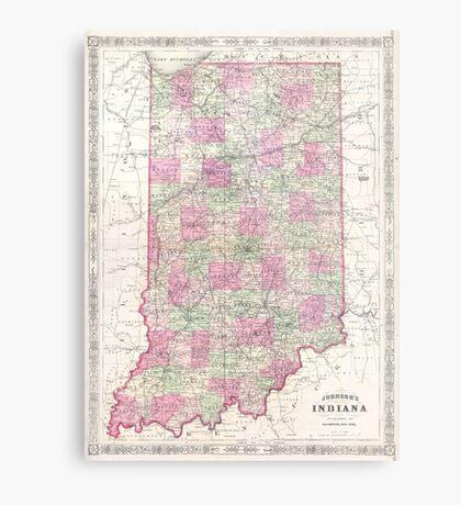 Vintage Map of Indiana (1864) Metal Print