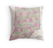 Vintage Map of Indiana (1864) Throw Pillow