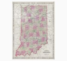 Vintage Map of Indiana (1864) T-Shirt