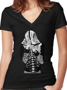 Skeleton Hoodie Women's Fitted V-Neck T-Shirt
