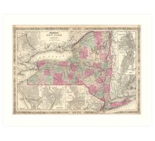 Vintage Map of New York (1864) Art Print