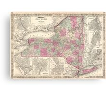 Vintage Map of New York (1864) Canvas Print