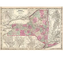 Vintage Map of New York (1864) Photographic Print