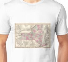Vintage Map of New York (1864) Unisex T-Shirt