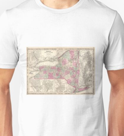 Vintage Map of New York (1864) Unisex T-Shirt