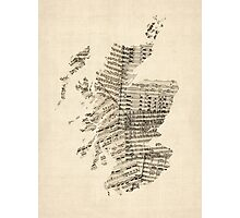 Old Sheet Music Map of Scotland Photographic Print