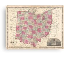 Vintage Map of Ohio (1864)  Canvas Print