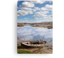 old beached fishing boat on Donegal beach Metal Print