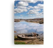 old beached fishing boat on Donegal beach Canvas Print