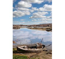 old beached fishing boat on Donegal beach Photographic Print